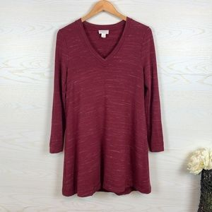 LOFT Lounge Burgundy Cozy Tunic Dress